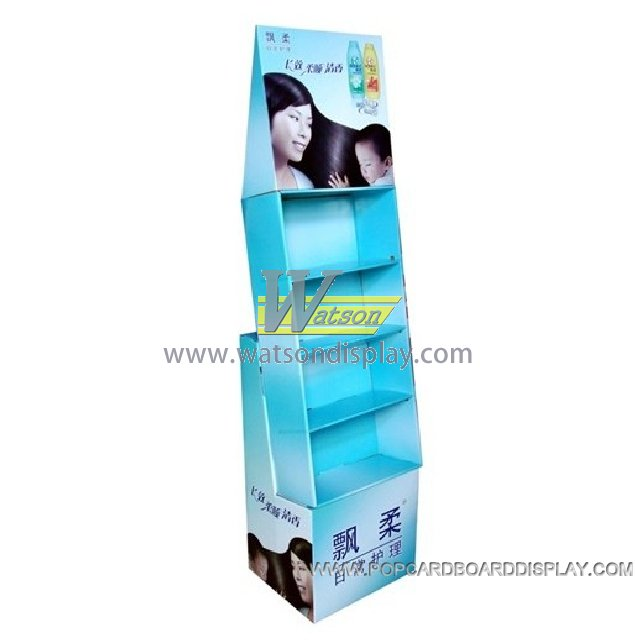 four tiers shampoo promotion display stand in supermarket