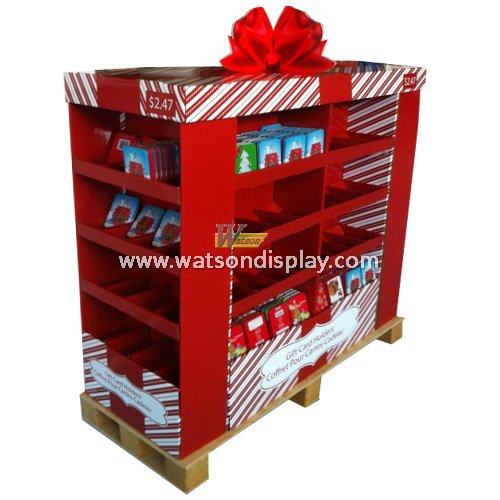 Beverage/candy sale pallet floor display stands for Christmas