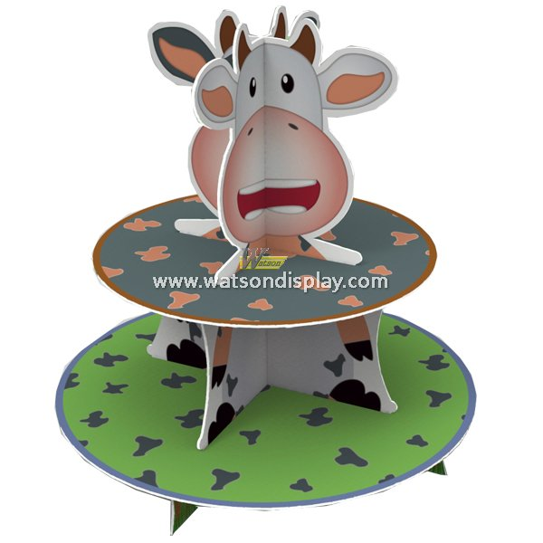 Original Cartoon Cow Design Cardboard Cupcake Stand to Celebrate Festival