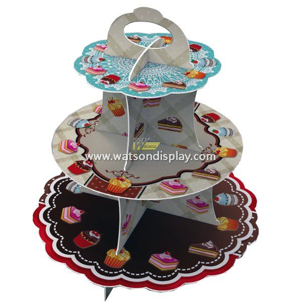 Original design 3 tiers cardboard cupcake stand with easy handle for birthday party