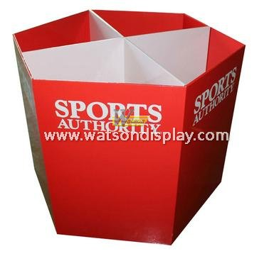 resonable price custom cardboard display dump bin for sports products