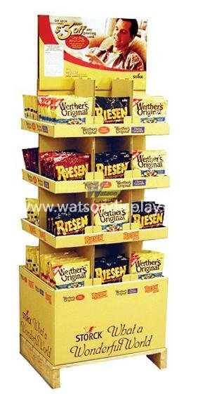 Double cardboard display stands for cookies retail promotions