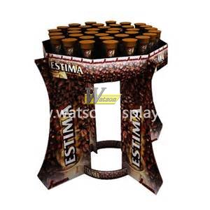 The bottled coffee  promotion frustum of a cone pallet cardboard display stand