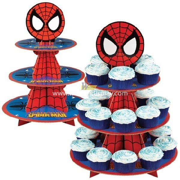 Spiderman modelling cardboard cupcake display stands