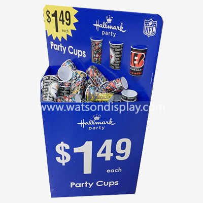 Party cups promotional cardboard display dump bin cardboard rack