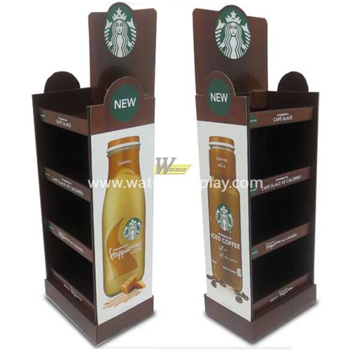custom stronger cardboard material coffee floor display stand with custom size and logo