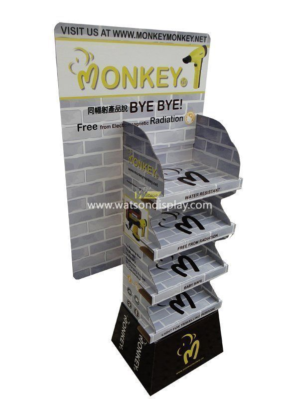 Pop stronger cardboard material floor display stand for hair dryer
