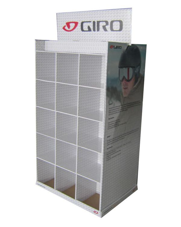 Sydney store retail custom logo compartment cardboard display stand for goggle