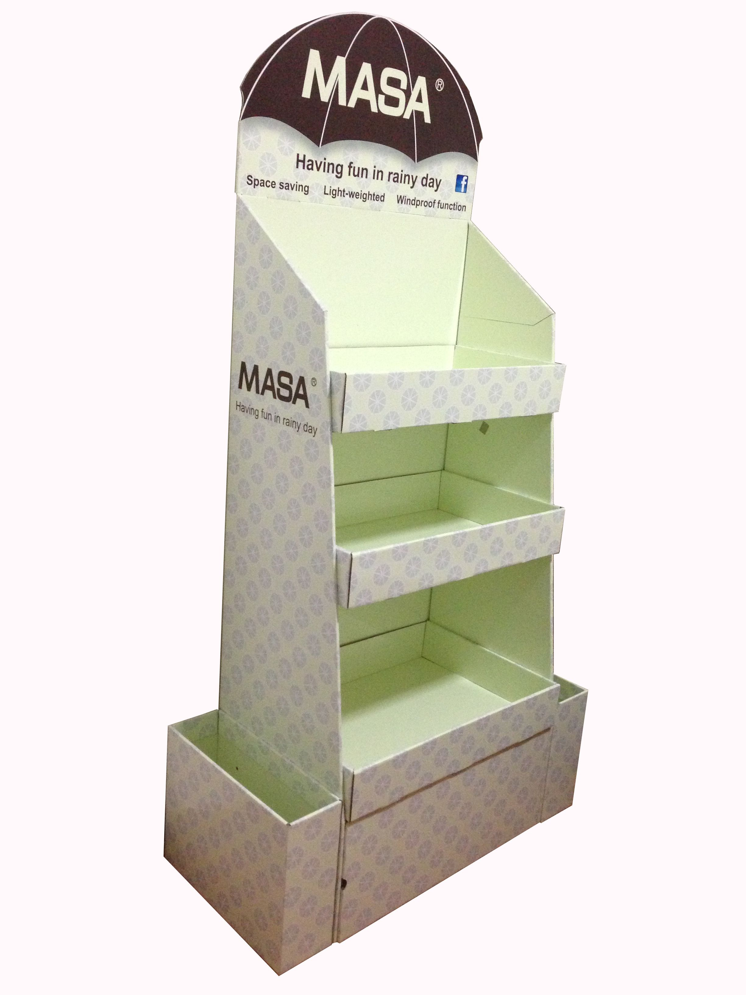 Wholesale paper shelf cardboard display counter stand with side pocket