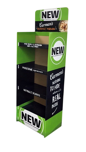 green color customozed floor paper display stand