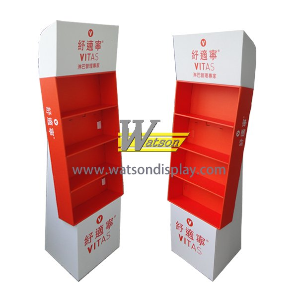 Wholesales promotion cardboard health care medicine floor display shelf