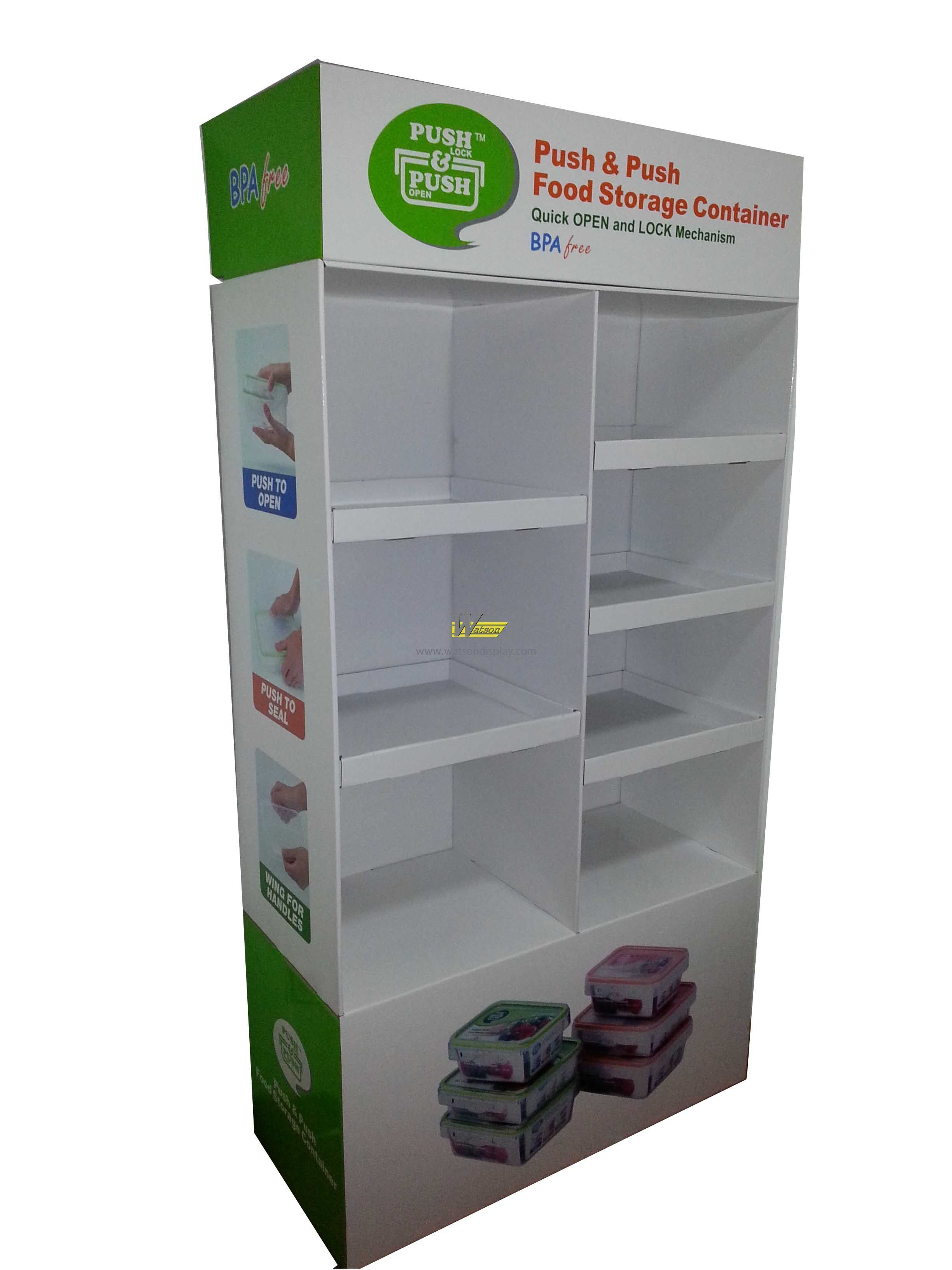 Hot sales custom corrugated compartment display stand for food storage container