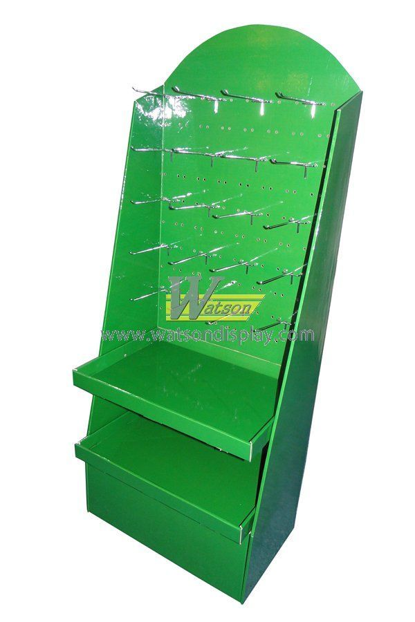 Custom green colour corrugated peg display stand for supermarket retail
