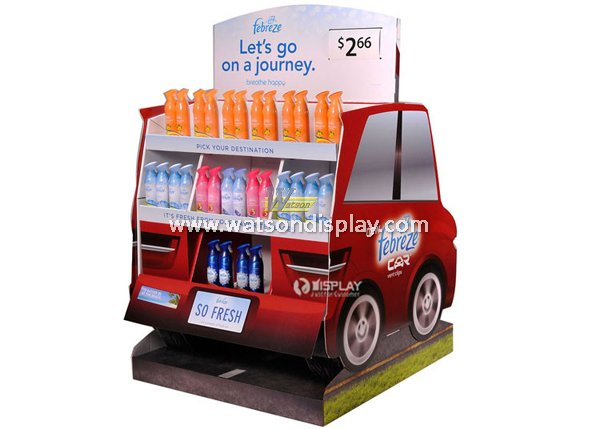 New creative with car structure advertising cardboard display rack for shampoo