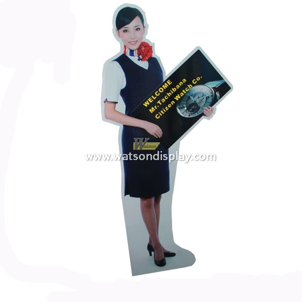 Cardboard floor pop advertising person shaped display for watch promotion